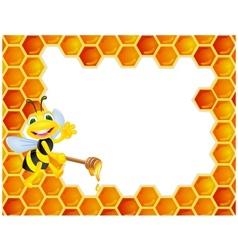 Bee cartoon with honeycomb vector