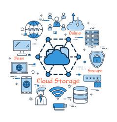 Blue round cloud storage concept vector
