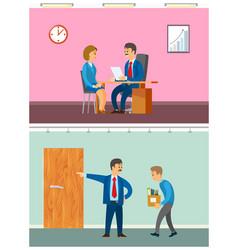 Boss discharging worker from duty woman interview vector