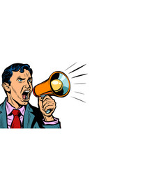 businessman with megaphone horizontal copy space vector image