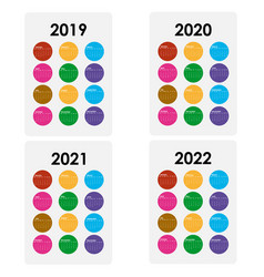 Calendar 2019 2020 2021 and 2022 vector