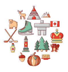 Canada travel icons set cartoon style vector