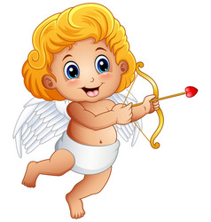 cartoon baby cupid shoot a bow isolated on a white vector image
