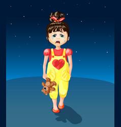 cartoon crying young girl vector image