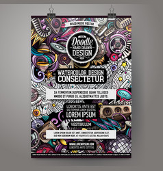 Cartoon hand drawn doodles disco music poster vector