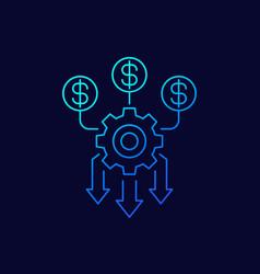 Cash flow optimization money management line icon vector