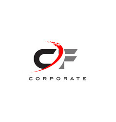 Cf modern letter logo design with swoosh vector