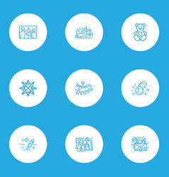 christmas icons line style set with teddy bear vector image