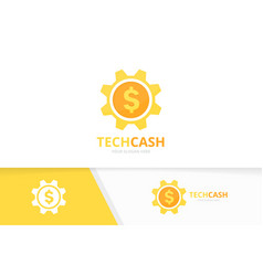 Coin and gear logo combination money and vector