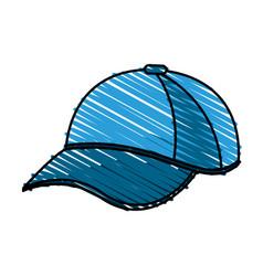 color crayon stripe cartoon blue sport cap vector image