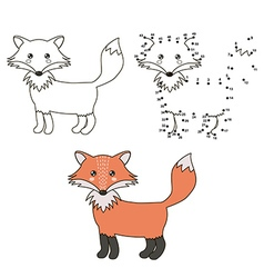 Connect the dots to draw a cute fox and color it vector