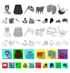 Country scotland flat icons in set collection for vector