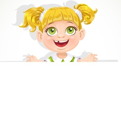 Cute little girl holding a big blank banner vector image