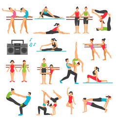 Dance training decorative icons set vector