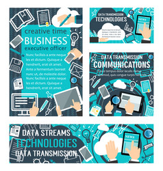 data streams technologies posters vector image