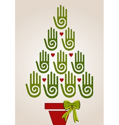 Diversity green hands in Christmas Tree vector