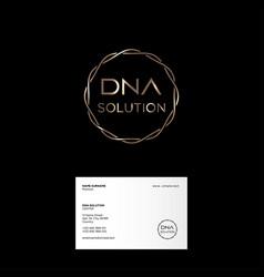 Dna solution logo gold spiral business card vector