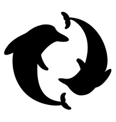 Dolphin arranged in a circle silhouette vector