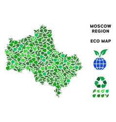 Eco green mosaic moscow oblast map vector