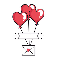 envelope with heart and balloons helium vector image