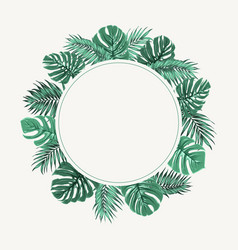 exotic tropical leaves wreath border frame green vector image