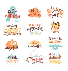 Fall nature season vintage hand drawn lettering vector