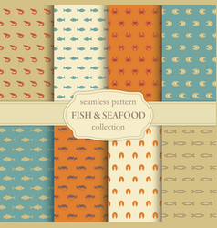 fish and seafood seamless backgrounds vector image