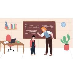 Flat cartoon teacher and student characters vector