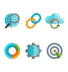 Flat line icons set of website search engine vector image