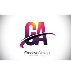Ga g a purple letter logo with swoosh design vector