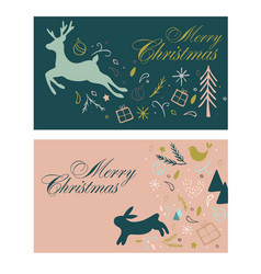 gift cards for christmas with deer and hair vector image