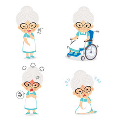 Grandma in various postures and expressing vector