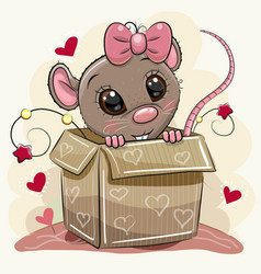 Greeting card with cartoon rat girl and a box vector