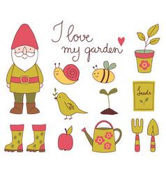 hand drawn garden clip art set vector image