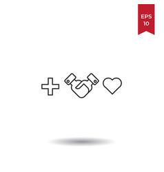 handshake heart icon vector image