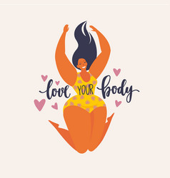 Happy jumping plus size girl happy body positive vector