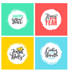 happy new year merry christmas festive greetings vector image