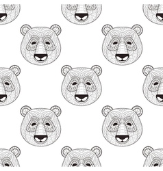 Head Panda seamless pattern in zentangle style vector image
