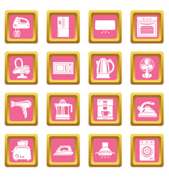 House appliance icons set pink square vector