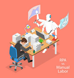 isometric flat concept of rpa vs manual vector image