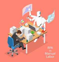 isometric flat concept rpa vs manual vector image