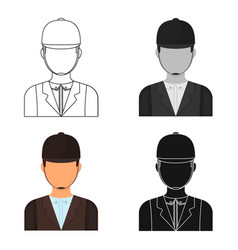 jockey icon in cartoon style isolated on white vector image