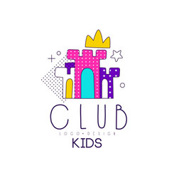Kids club logo design element for development vector