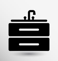 Kitchenware sink basin icon button logo symbol vector