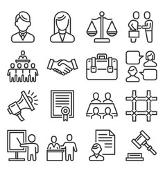 lawyer and legal law icons set on white background vector image