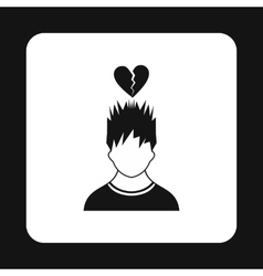Man and broken heart icon simple style vector image