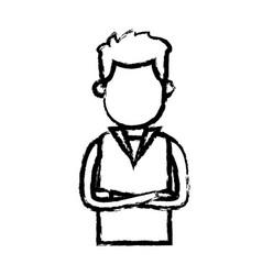 man wear vest crossed arms clothes sketch vector image