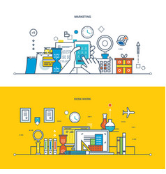 marketing work workspace research planning vector image