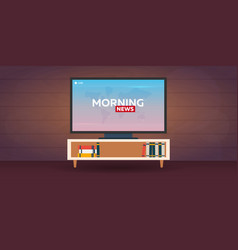 mass media morning news banner live tv show vector image
