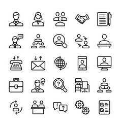 Meeting workplace line icons pack vector